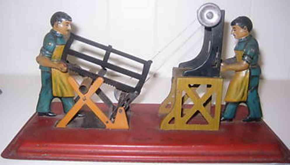 Arnold Antriebsmodell 2 Männer auf einer Grundplatte Säger und Holztrenner