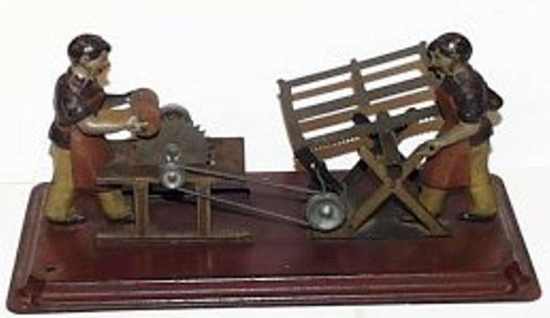 arnold dampfspielzeug antriebsmodell zwei maenner saegen holz
