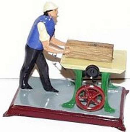 Becker Antriebsmodell Mann sägt  Holzblock