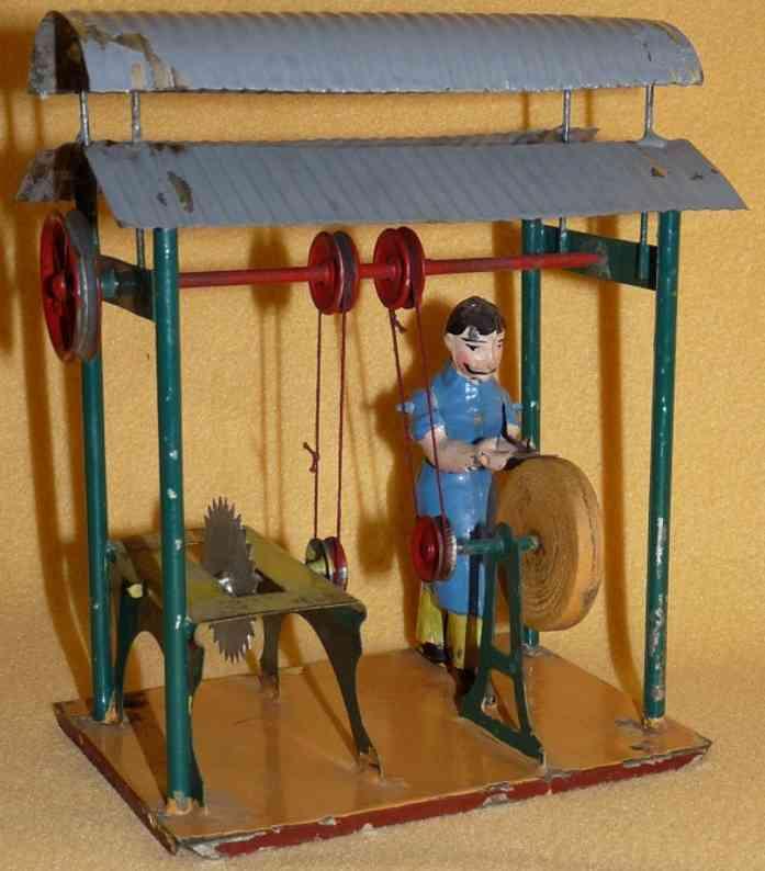 becker dampfspielzeug antriebsmodell werkstatt, maschinenhalle mit wellblechdach, schleifer, säge