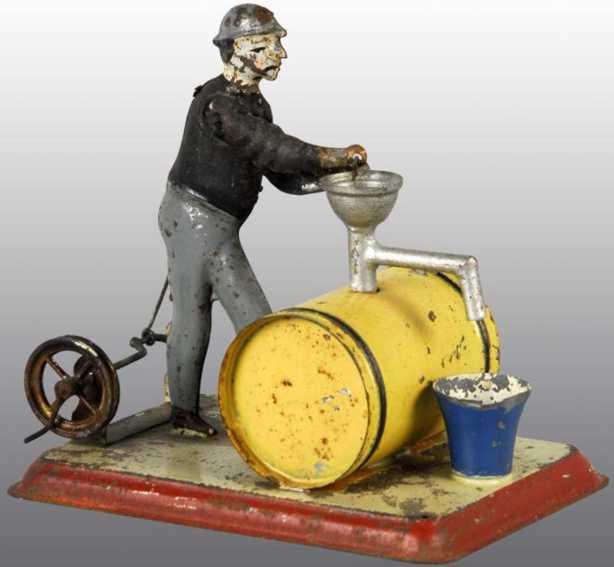becker dampfspielzeug antriebsmodell weinhersteller mann pumpt wein gelbes fass