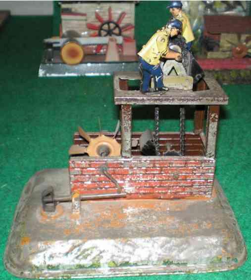 bing Schöpfwerk dampfspielzeug antriebsmodell 2 arbeiter wasserrad hammerwerk