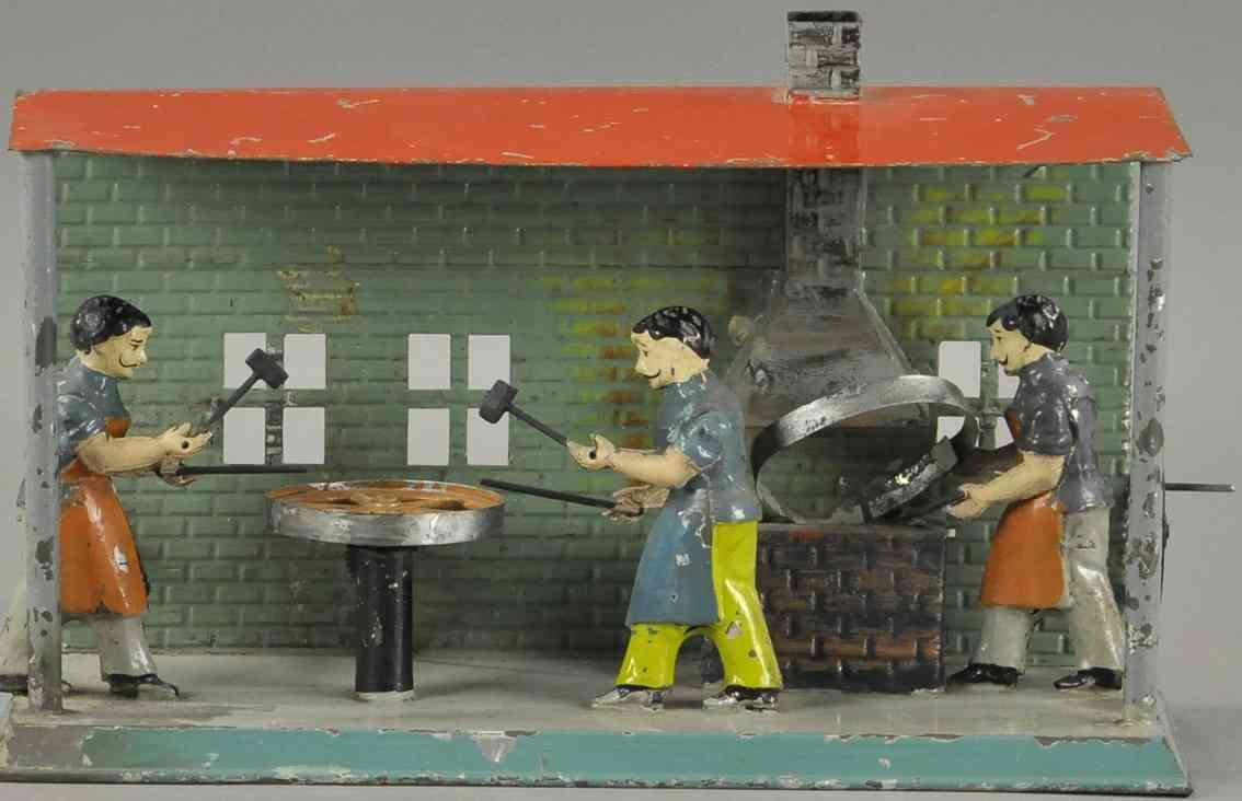 bing dampfspielzeug antriebsmodell drei mann in schlosserwerkstatt