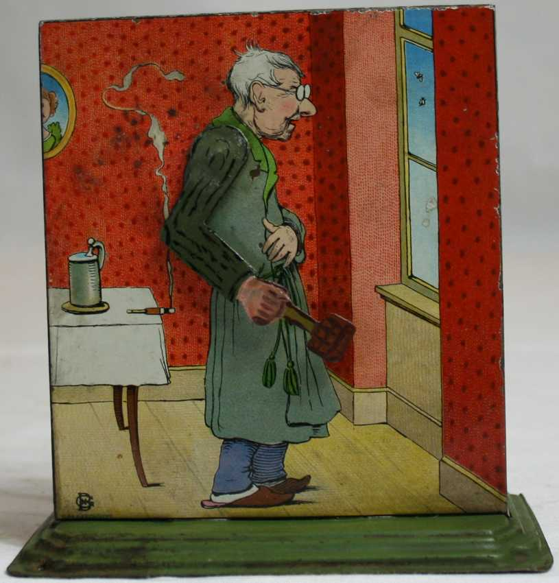 bing 8743/8 steam toy drive model old man moves arm with fly swatter