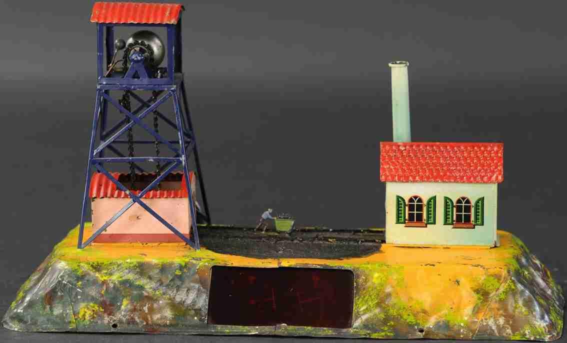 bing 9956/289 dampfspielzeug kohlenmine als antriebsmodell minenarbeiter erzkarre