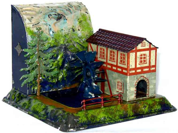 bing 9956/70 steam toy drive model watermill with mountain