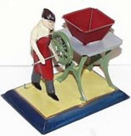 bing 9956/242 dampfspielzeug antriebsmodell figur mit ruebenschneidemaschine