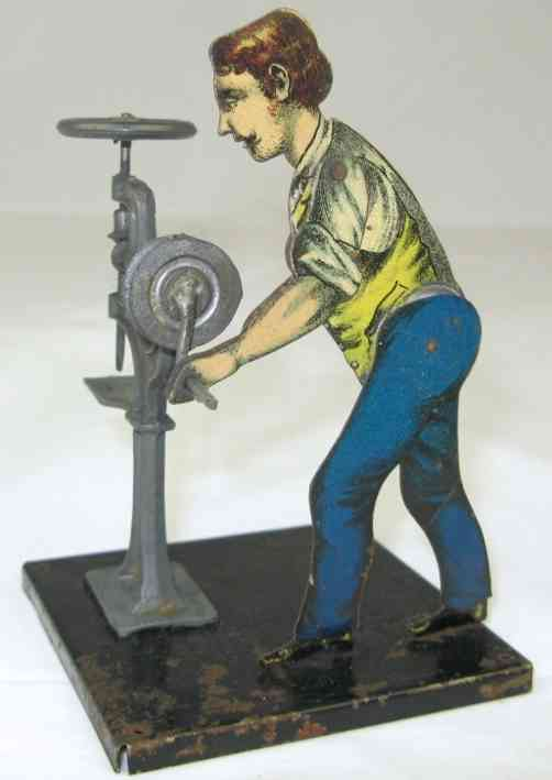 carette 195/7 steam toy drive model man at a drilling machine