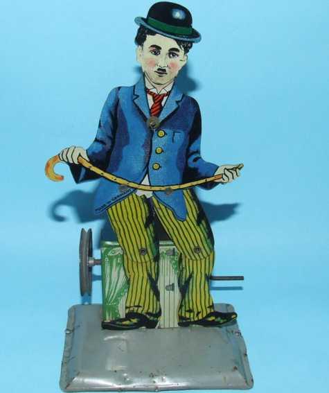 krauss wilhelm dampfspielzeug antriebsmodell charlie chaplin lithografiert als steptänzer, er kann manuze