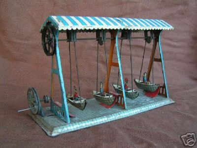 krauss wilhelm steam toy drive model ship swing with 4 ships