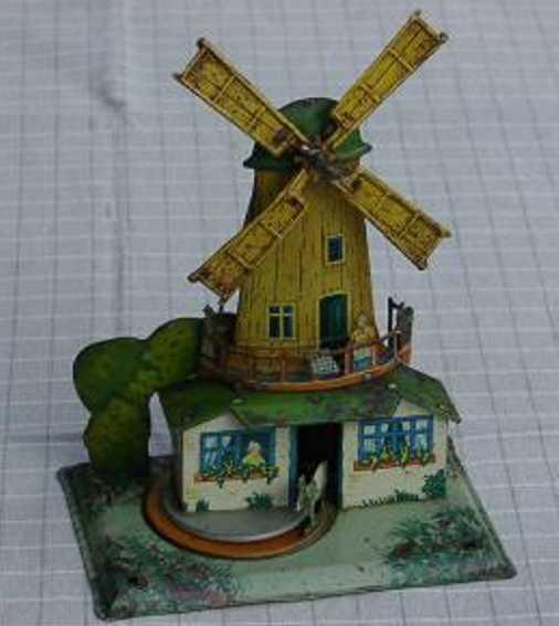 krauss wilhelm dampfspielzeug antriebsmodell windmühle, wenn man das antriebsrad dreht, drehen sich die w