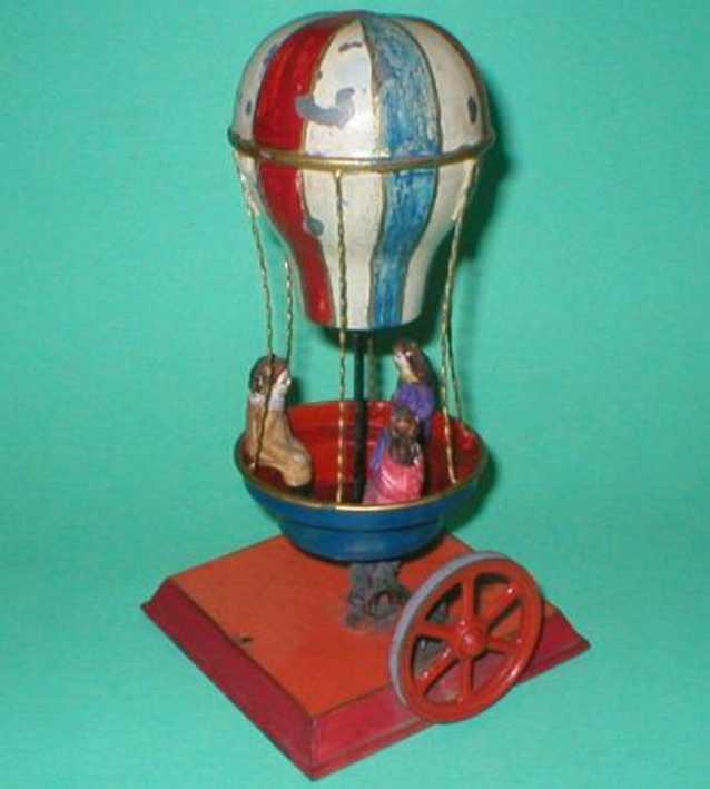 schoenner jean dampfspielzeug antriebsmodell heißluftballon - ballon-karussell mit drei massefiguren