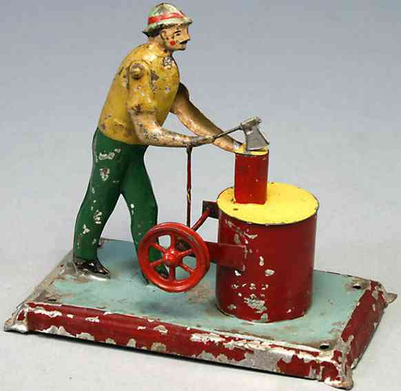 Antriebsmodell Mann am Holzklotz