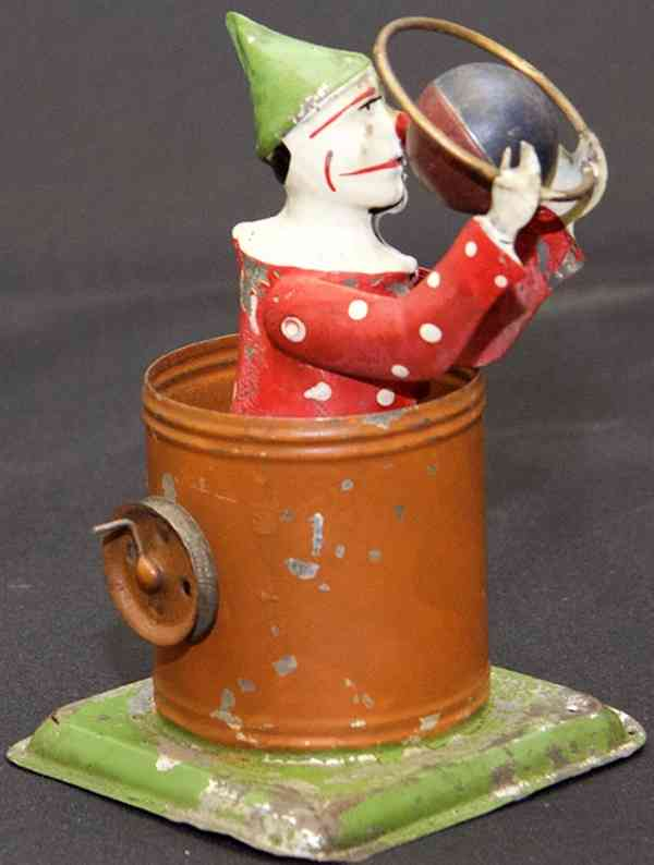 steam toy drive model rotating tin clown with hoop and ball sitting in a bucket