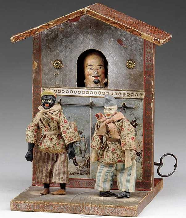 automatic toy works automaton clockwork theatre two dancers man in window
