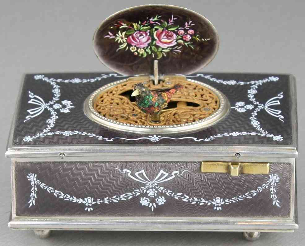 Cattelin F. Silver and enamel body singing bird box automaton