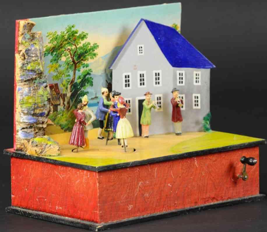 erzgebirge sieben figuren automat spieluhr taenzer blaeser