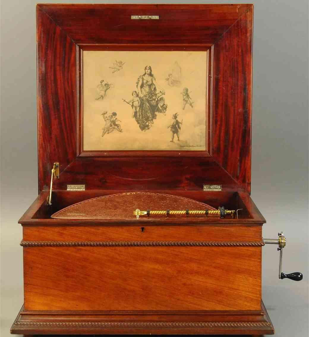 harper co john automaton symphonion disc music box walnut rope