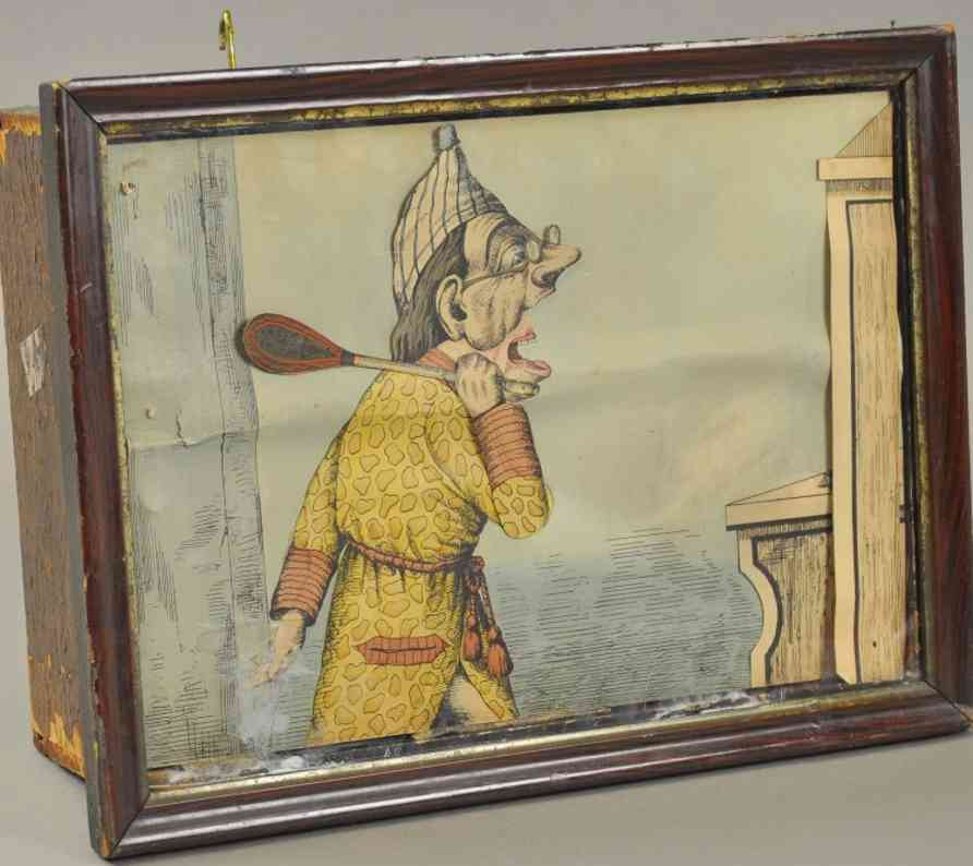 schoenhut man swat mouse automaton mechanical diorama, paper litho image depicts man attempting