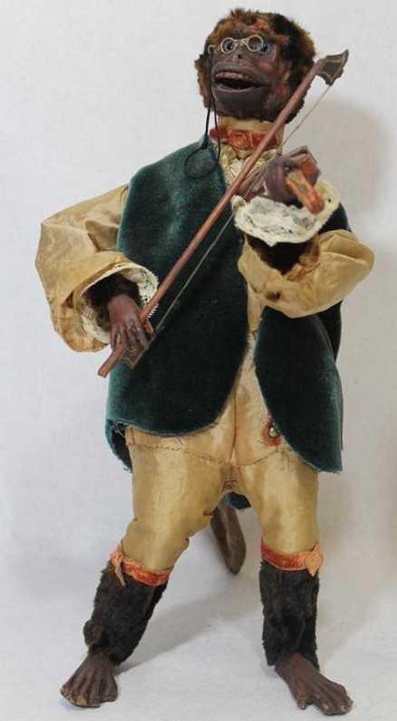 theroude alexandre automat affe mit seiner violine. die spieldose ist in seinem körper