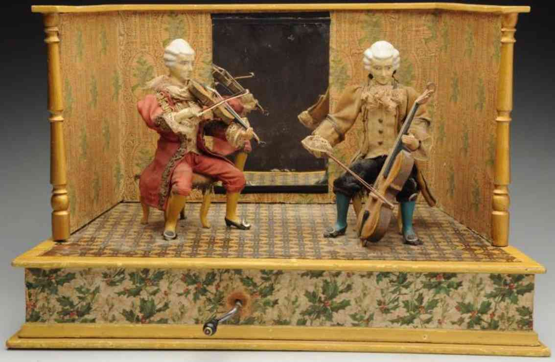 automaton two musicians perform in a room;