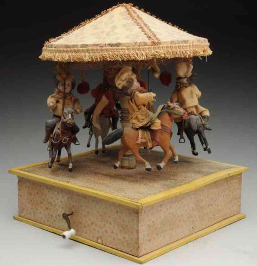 automaton musical mechanical carousel toy four bisque children horses