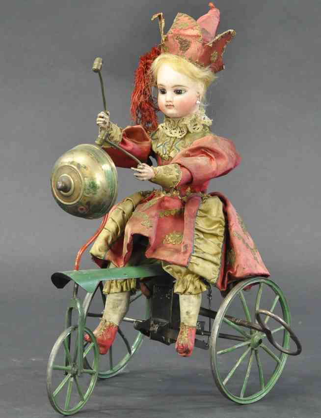 automaton french chime trike child clockwork tricycle gong