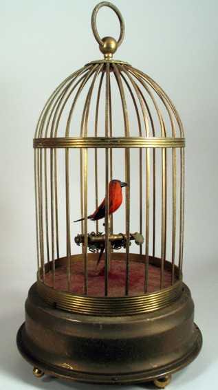 automat singender roter finke im käfig