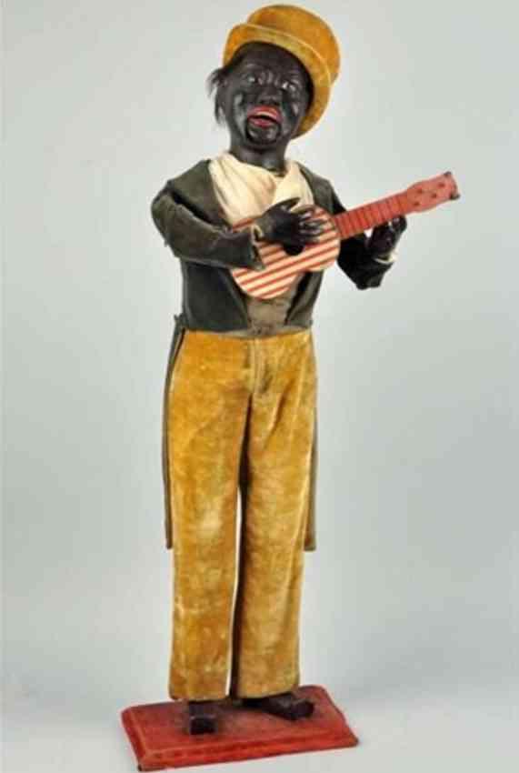 automat schwarzer amerikaner puppe mit gitarre und uhrwerk
