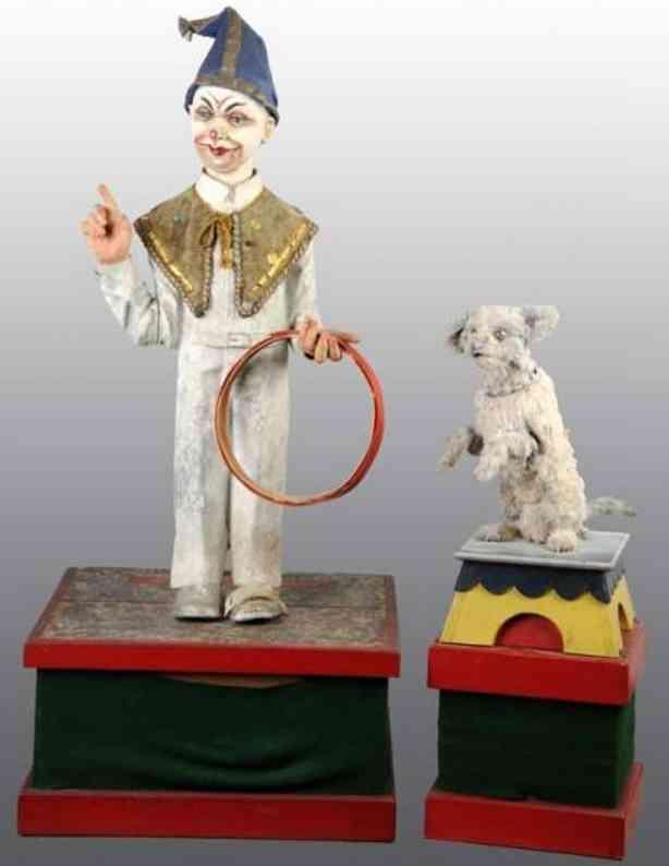 zirkus clown und hund elekrischer automat papiermache