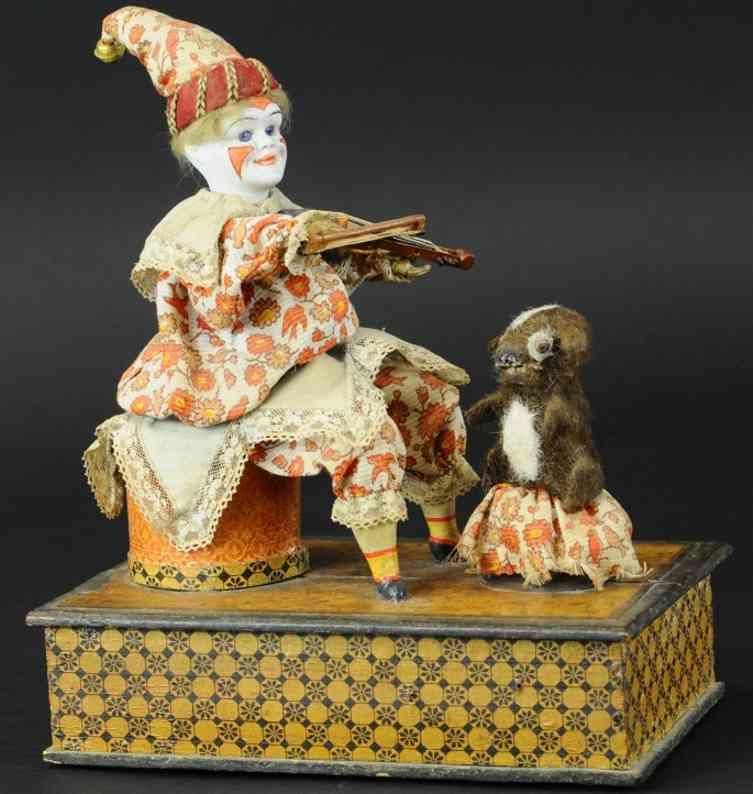 automaton clown violinist with dog