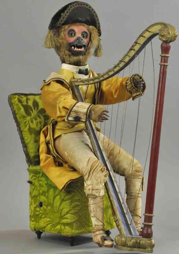 vichy automat affe als marquis mit harfe sitzt auf stuhl