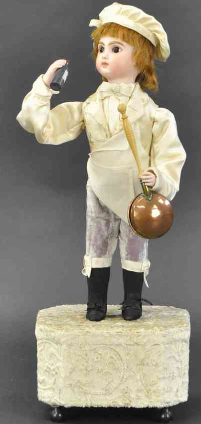 rouillet & decamps automaton boy on music box wine bottle copper pan jumeau