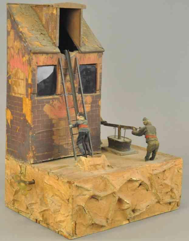 rouillet & decamps automat brennendes haus mit feuerwehrmaenner