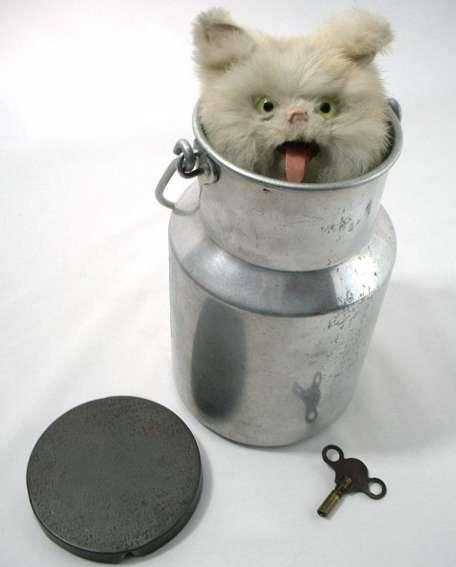 Rouillet & Decamps Automat Katze in Milchkanne