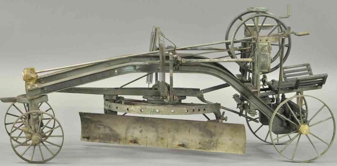j.,d.,adams,&,company Leaning wheel grader cast iron toy leaning wheel grader, incredible detail, salesman's sample r