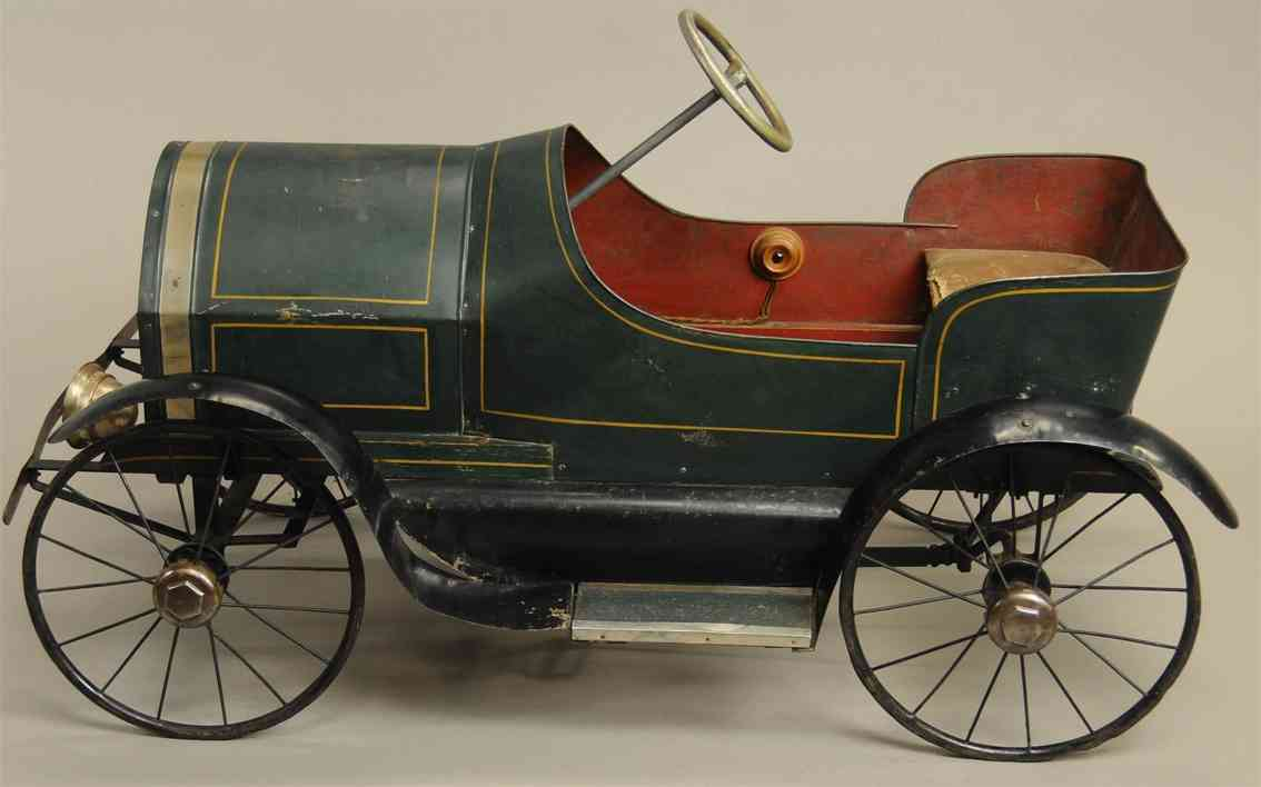 alamo iron works tin toy pedal car electric headlights siren horn