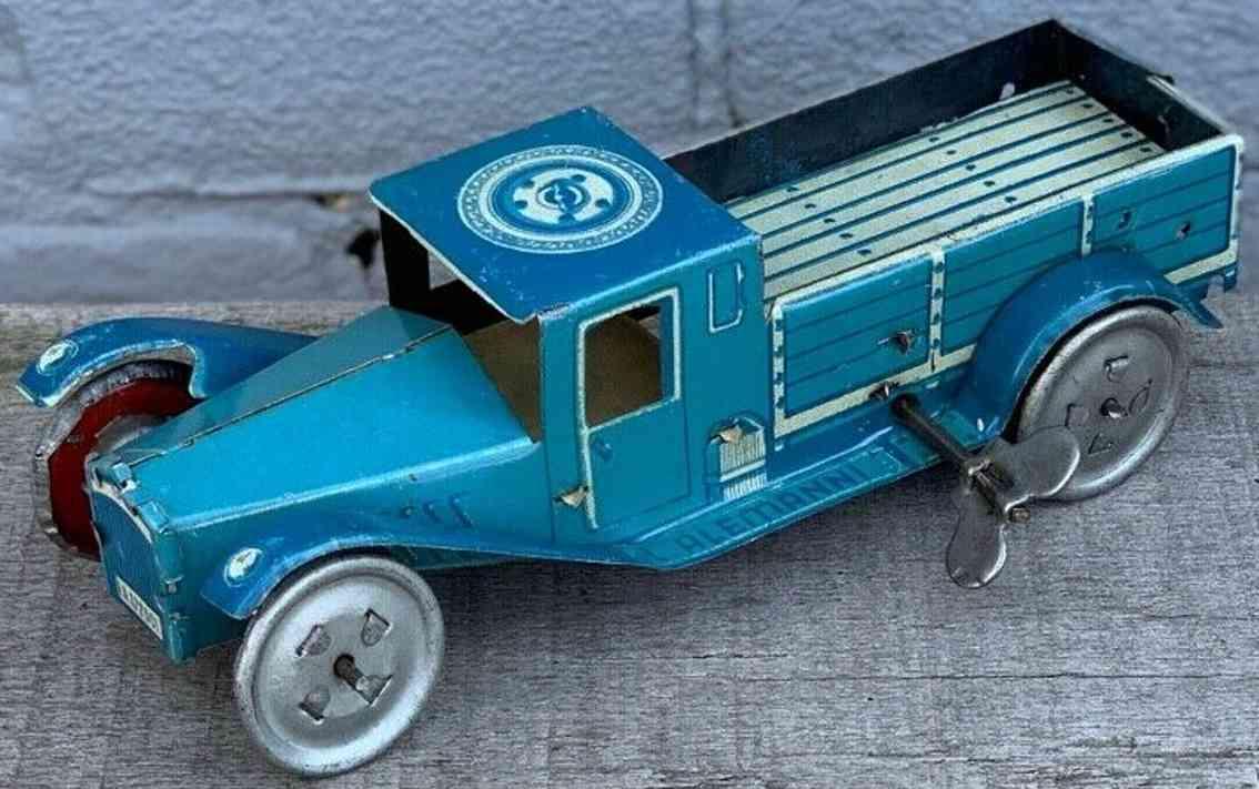 alemanni la.172001 weissblech spielzeug lastwagen mit uhrwerk in blau