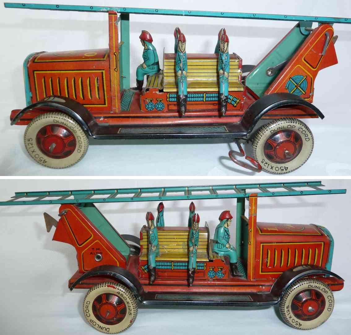 altin ai07 tin toy fire engine fire ladder car turquoise red yellow