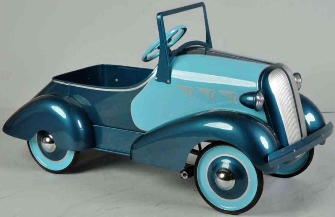 American National Co. Chevy Tretauto aus Stahlblech in hellblau und dunkelblau