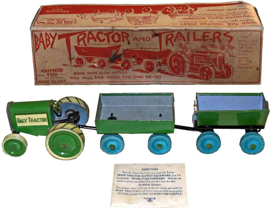 animate toy company blech spielzeug baby-traktor uhrwerk gruen