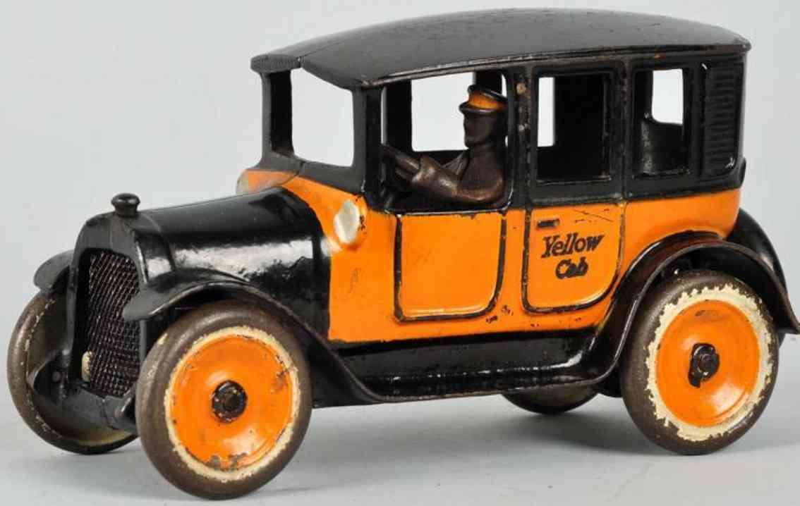 arcade 2 spielzeug gusseisen auto taxi orange schwarz fahrer