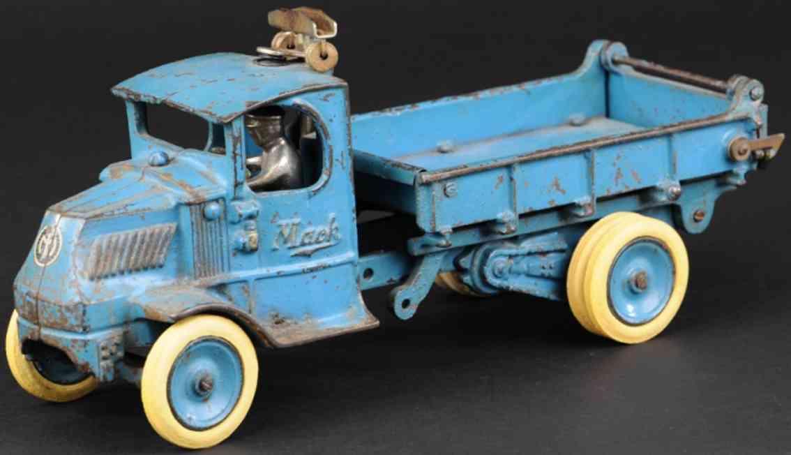arcade 223 gusseisen kipplastwagen mack fahrerhaus blau