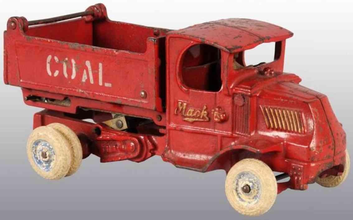 arcade 244 spielzeug gusseisen kohle lastwagen rot