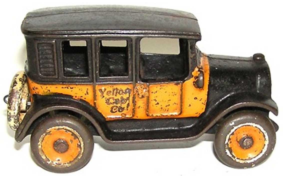 arcade 3 spielzeug gusseisen auto taxi  gelb