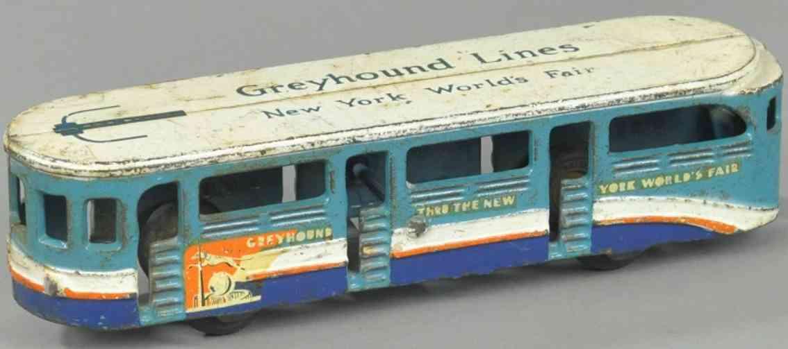 arcade 3780 gusseisen greyhound lines new york worlds fair bus blau weiss