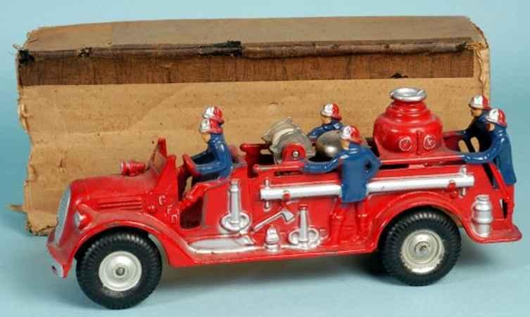 arcade 6990 cast iron toy fire pumper engine with boy