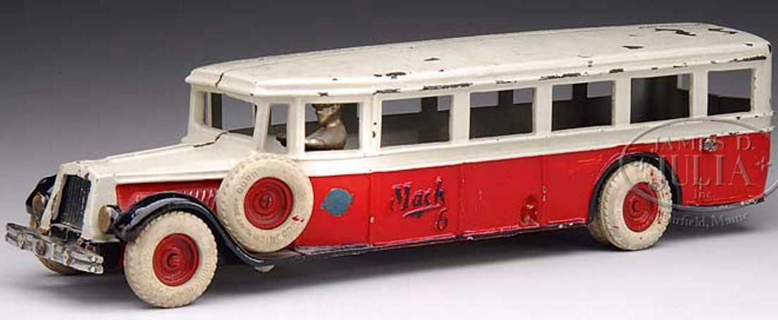 Arcade 6 cast iron MACK BUS in red and white