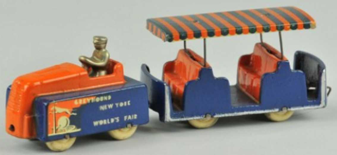 arcade 729 gusseisen messebus blau orange 1 wagen