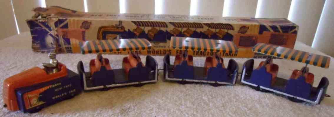 arcade 729 cast iron toy fair bus  train 3 supporters orange blue